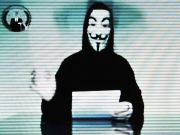 A photo on the Greek ministry of justice website after it was hacked by Anonymous in February 2012. Anonymous came in first place in Time Magazine's 2012 online poll on the most influential