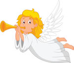 White dress angel with trumpet-canstock20836264