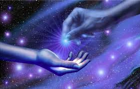 symbolizing the receipt of Free Eergy the cosmic hands of humanity reaches out to receive the gift of Free Energy from the cosmos.
