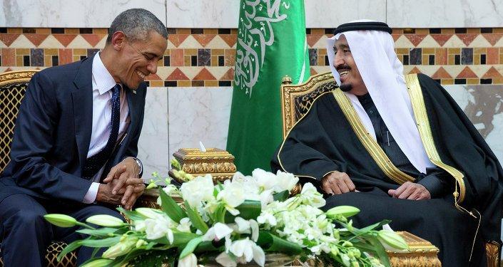 FILE - In this Jan. 27, 2015 file photo, President Barack Obama meets Saudi Arabian King Salman bin Abdul Aziz in Riyadh, Saudi Arabia
