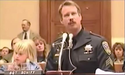 San Francisco Police Sargent Schiff testifies about the harm done to his family by the use of poorly tested and marketed pharmaceutical drugs in this screen capture from this documentary about the pharmaceutical industry of death overseen by the US Food and Drug Administration.