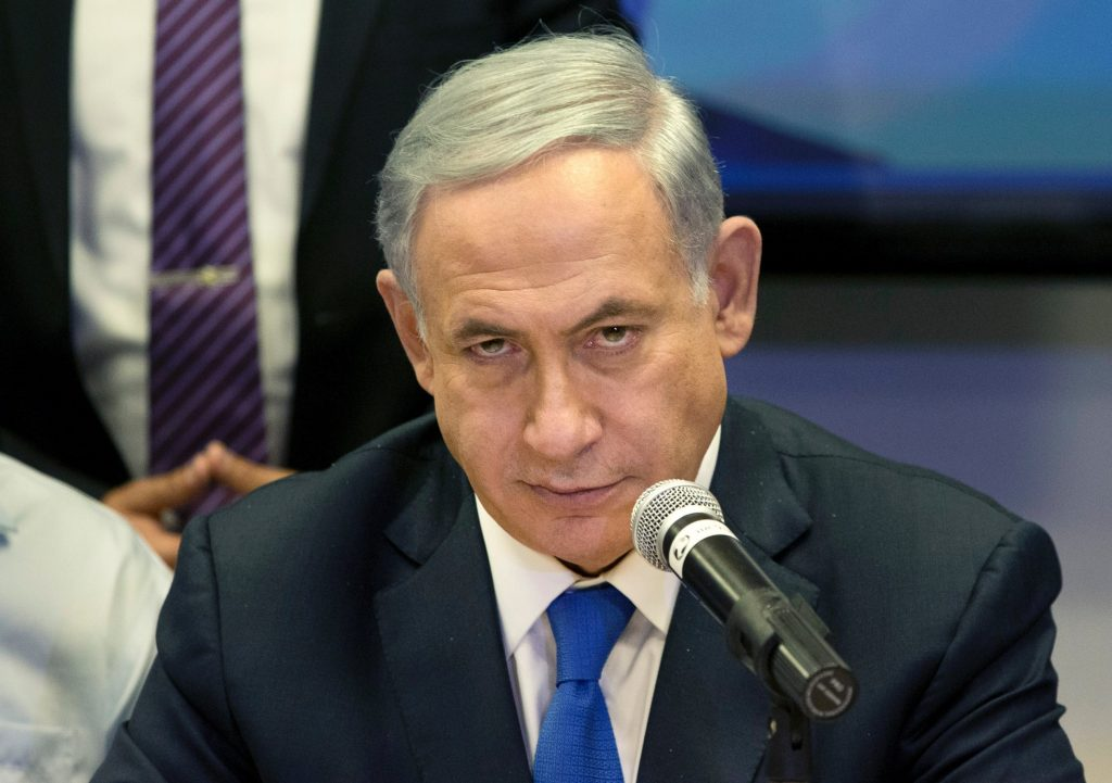 Israeli Prime Minister Benjamin Netanyahu attends a Likud party meeting in Or Yehuda near Tel Aviv, Israel, a day ahead of legislative elections, March 16, 2015.