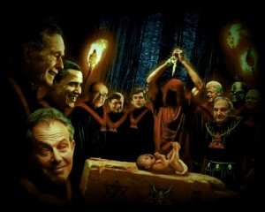 Artist David Dees' impression of what goes on at Satanic black magic rituals like the Bohemian Grove. Sad to say, it's probably very accurate. Note elite figures (from left) Blair, Bush, Obama, Greenspan, Gates, Brown, Clinton, Rockefeller & Turner.