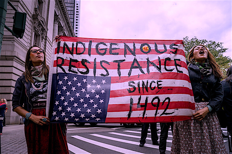 Members of the Idle No More movement for Indigenous sovereignty and to protect the land and water, at the Peoples's Climate March in New York City, 22 September 2014. (Allan Lissner/Idle No More)