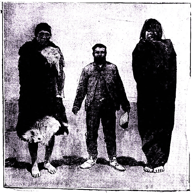 Dr. Cook with two Patagonian giants standing at around 7 ft. tall