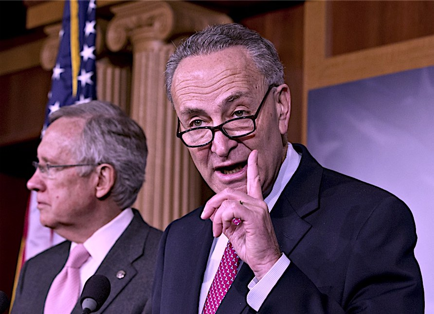 Above, Sen. Charles Schumer, D-N.Y., right, accompanied by Senate Majority Leader Harry Reid of Nev., gestures during a news conference on Capitol Hill in Washington in 2012. (AP Photo/J. Scott Applewhite) Now, Nevada Senator Harry Reid joined Senators Chuck Schumer (D-NY), Ron Wyden (D-Ore.), Ben Cardin (D-Md.), Michael Bennet (D-Colo.) and Richard Blumenthal (D-Conn.) release a statement supporting the BDS language in the customs bill.