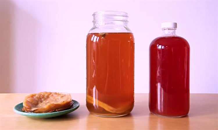 This is what Kombucha tea looks like when made at home, The SCOBY can be seen at the bottom of the center jar and on the left side, See the video at the bottom of this article to understand how to make Kombucha yourself.