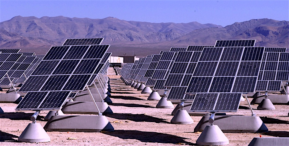 Solar panel field pictured at Nellis AFG