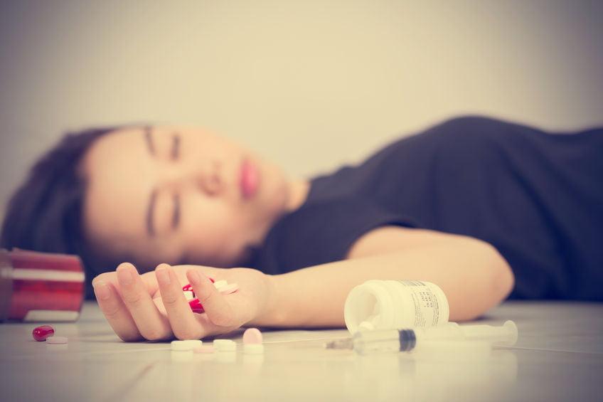 59917507 - focus on hand women after eaten pills overdose.
