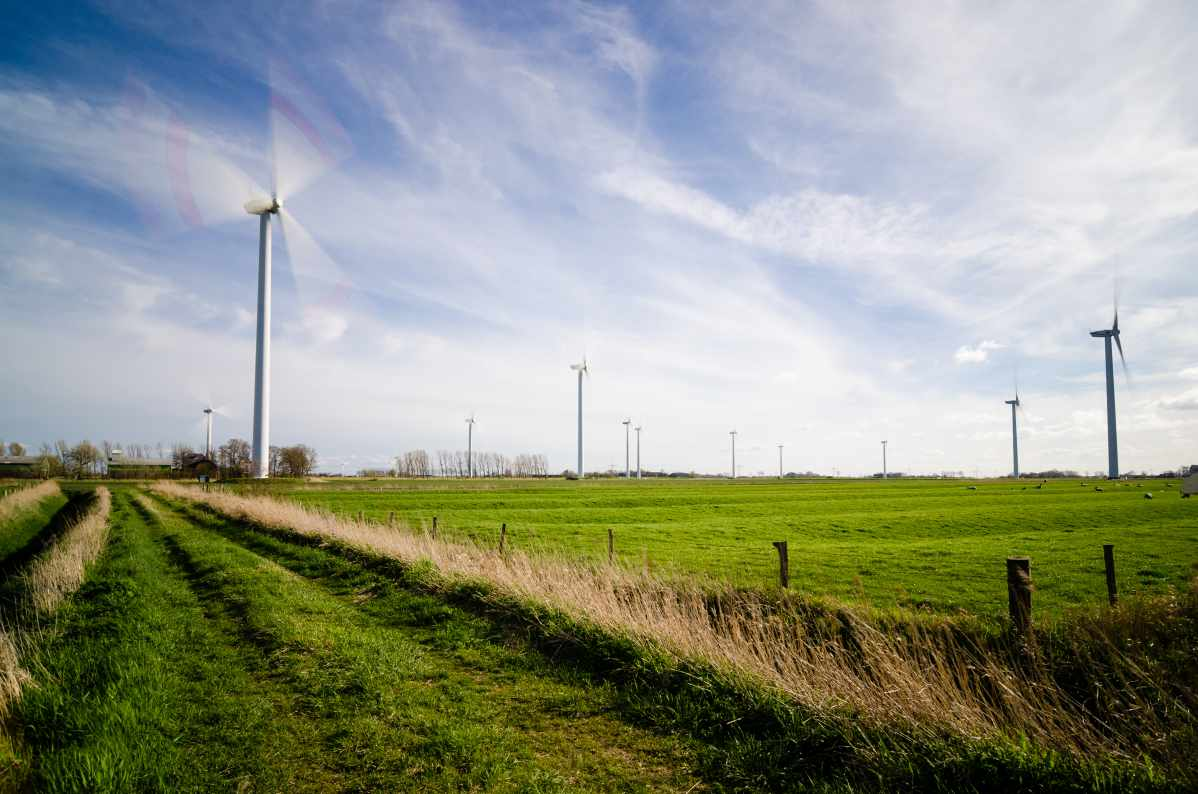Picture of a wind turbine in a field