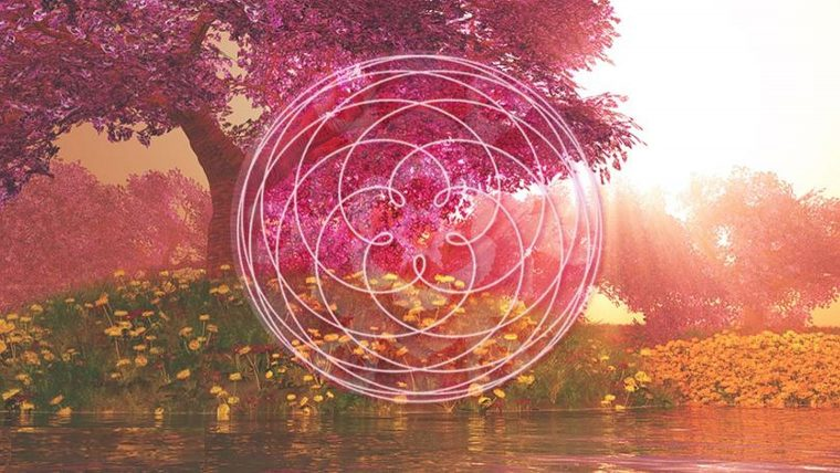 Sister hood of the rose, flower of life pattern over a beautiful scene