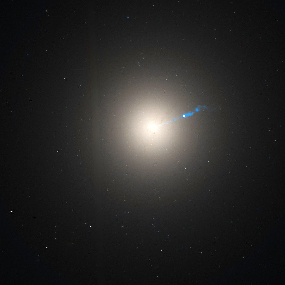 Photo of M 87 including massive jet