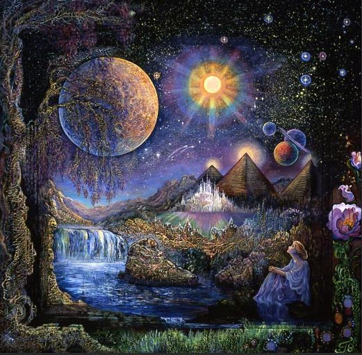 image: painting of woman looking at the stars by Josephine Wall