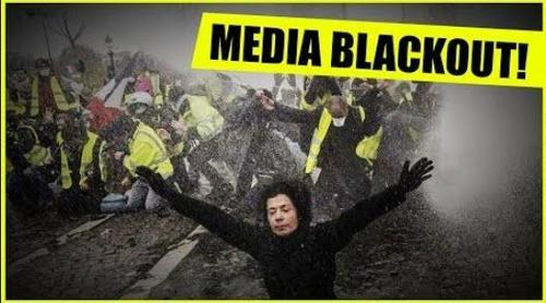 image of the yellow vest protests and title media blackout