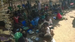 The children take time out to have their meal