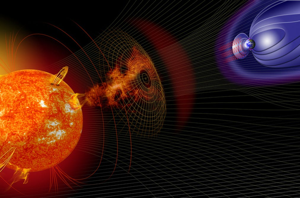 Sun and earth magnetic fields graphic