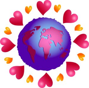graphic: earth surrounded by hearts
