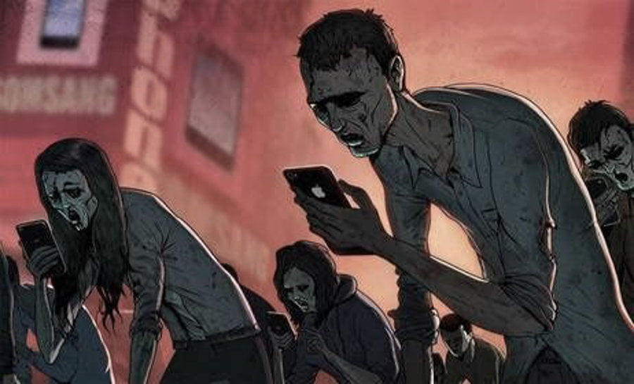 zombie people using phones