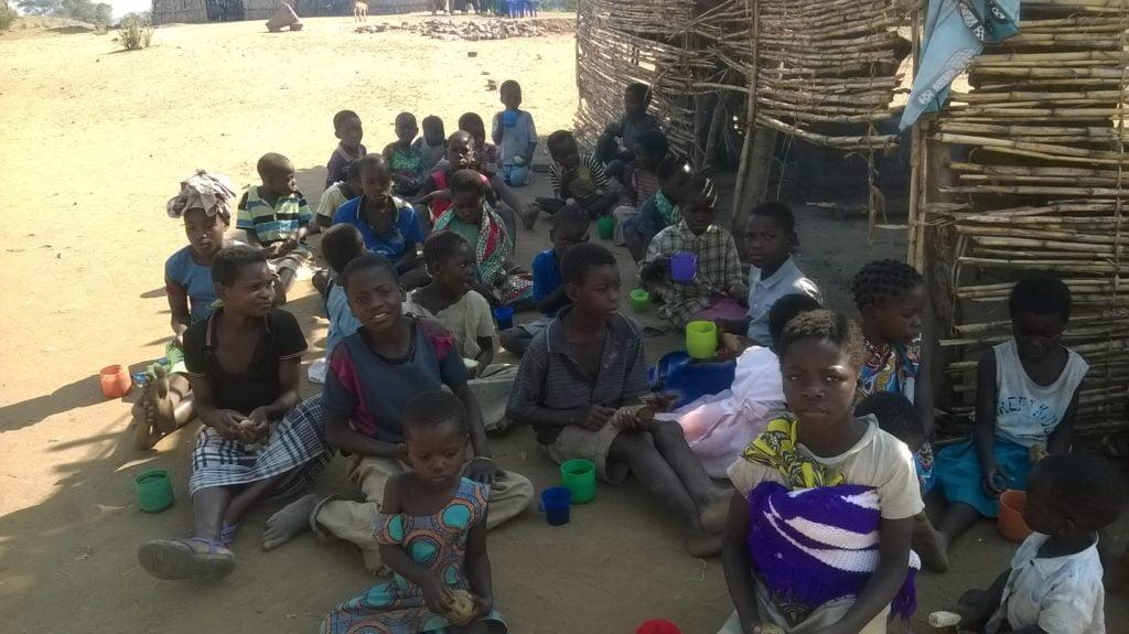 Children gather at Nova Gaia Orphanage Malawi