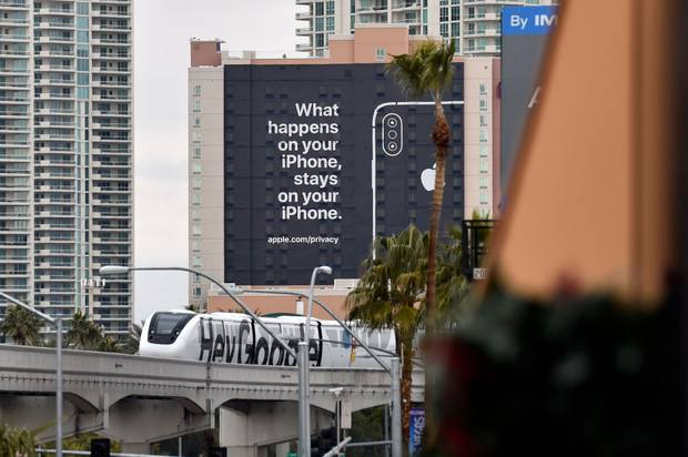 A billboard advertising Apple's iPhone security during CES 2019 in Las Vegas, Nevada. Photo / Getty