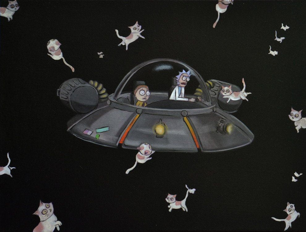 Rick & Morty in space ship with cats floating about in space